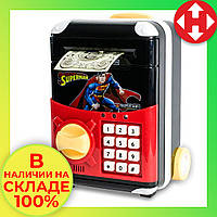 Сейф детский с электронным кодовым замком, для детей - Супермен - копилка детская с доставкой, фото 1