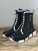 Демисезонные женские ботинки кожаные на низком ходу