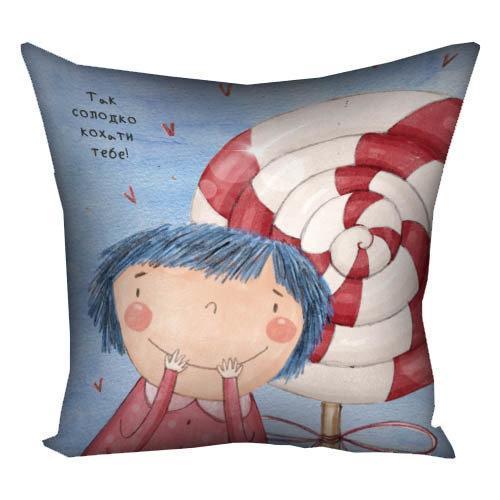 Подушка с принтом Так солодко кохати тебе! 40x40 см (4P_18L028)