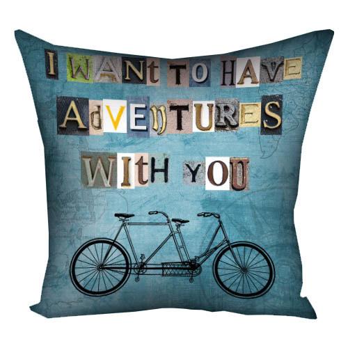 Подушка с принтом I want to have adventures with you 40x40 см (4P_LP241)