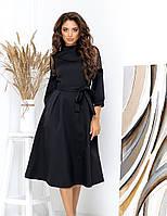 Женское красивое черное платье миди с гипюром