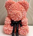 Мишка из 3D роз 40см в Коробке (Розовый) СКИДКА, фото 4