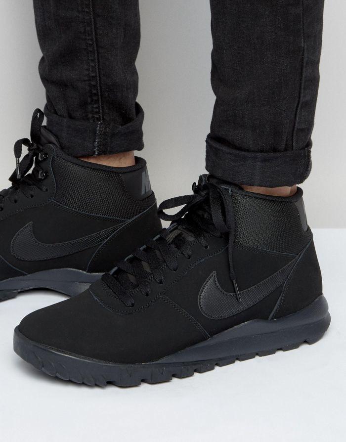 Nike Hoodland Black Suede 654888-090 оригінальні кросівки зимові чорні нубукові