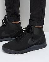 Nike Hoodland Black Suede 654888-090 оригінальні кросівки зимові чорні нубукові, фото 1