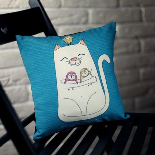 Подушка с принтом Любити – це бачити своє щастя в щасті іншої людини 40x40 см (4P_SAN023)