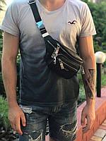 Мужская модная кожаная сумка бананка через плечо и на пояс Gucci Гуччи реплика