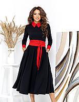 Женское черно-красное платье миди с пышной юбкой