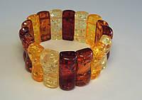 Браслет з бурштинової смоли, кольоровий пластинками, фото 1