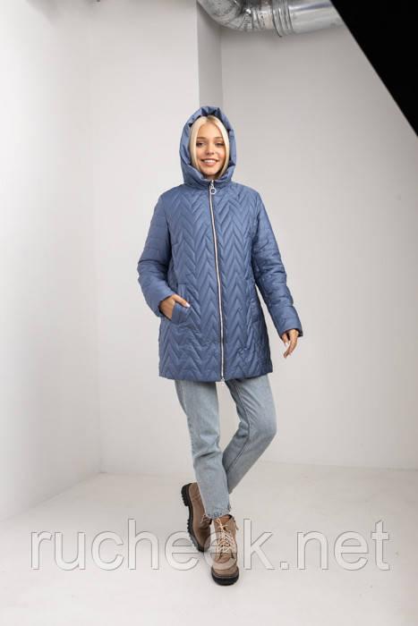 Куртка осенняя женская стеганная удлиненная