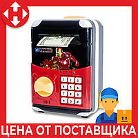 Распродажа! Игрушечный детский сейф с электронным кодовым замком Супергерои Айронмен, копилка детская, фото 1