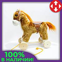 Деревянная плюшевая лошадка на колесиках, Коричневая - лошадь на колесах детская (высота - 30 см), фото 1