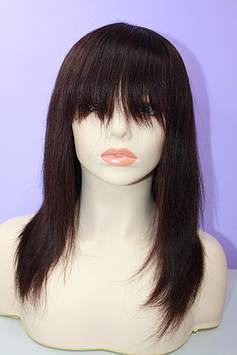 Натуральный парик светло коричневый имитация кожи головы каскад