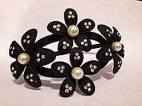 Обруч для волос цветы черный каучук
