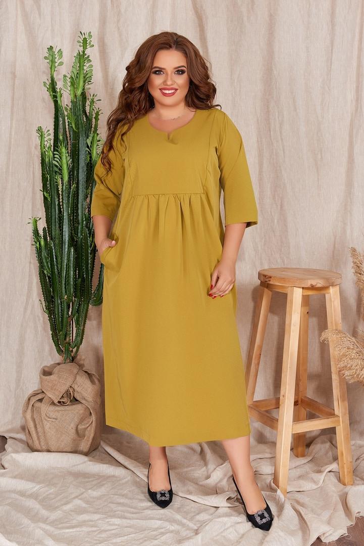 Р. 48-54 Женское повседневное платье 1182 А-силуэта большого размера горчичное