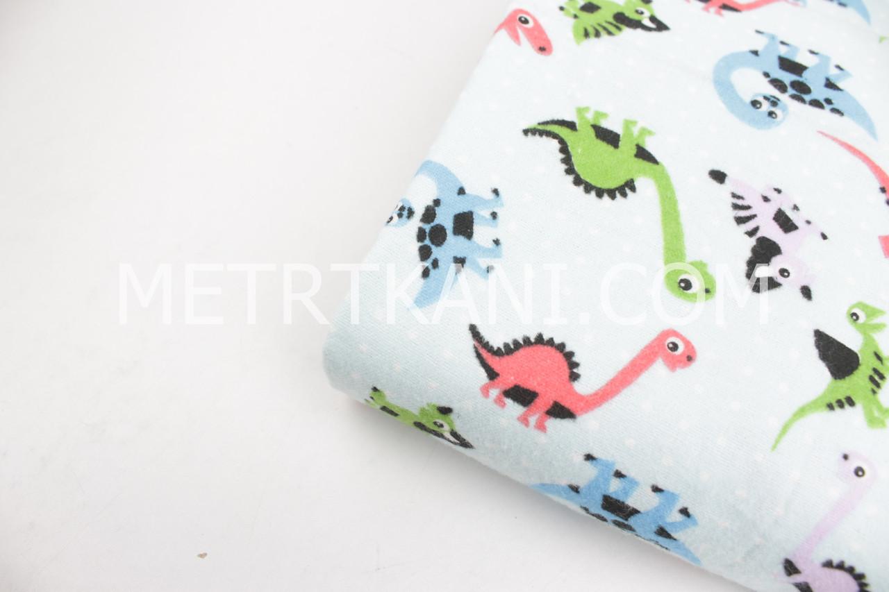 """Лоскуток. Фланель детская """"Цветные динозавры"""" на голубом фоне 40*160 см"""