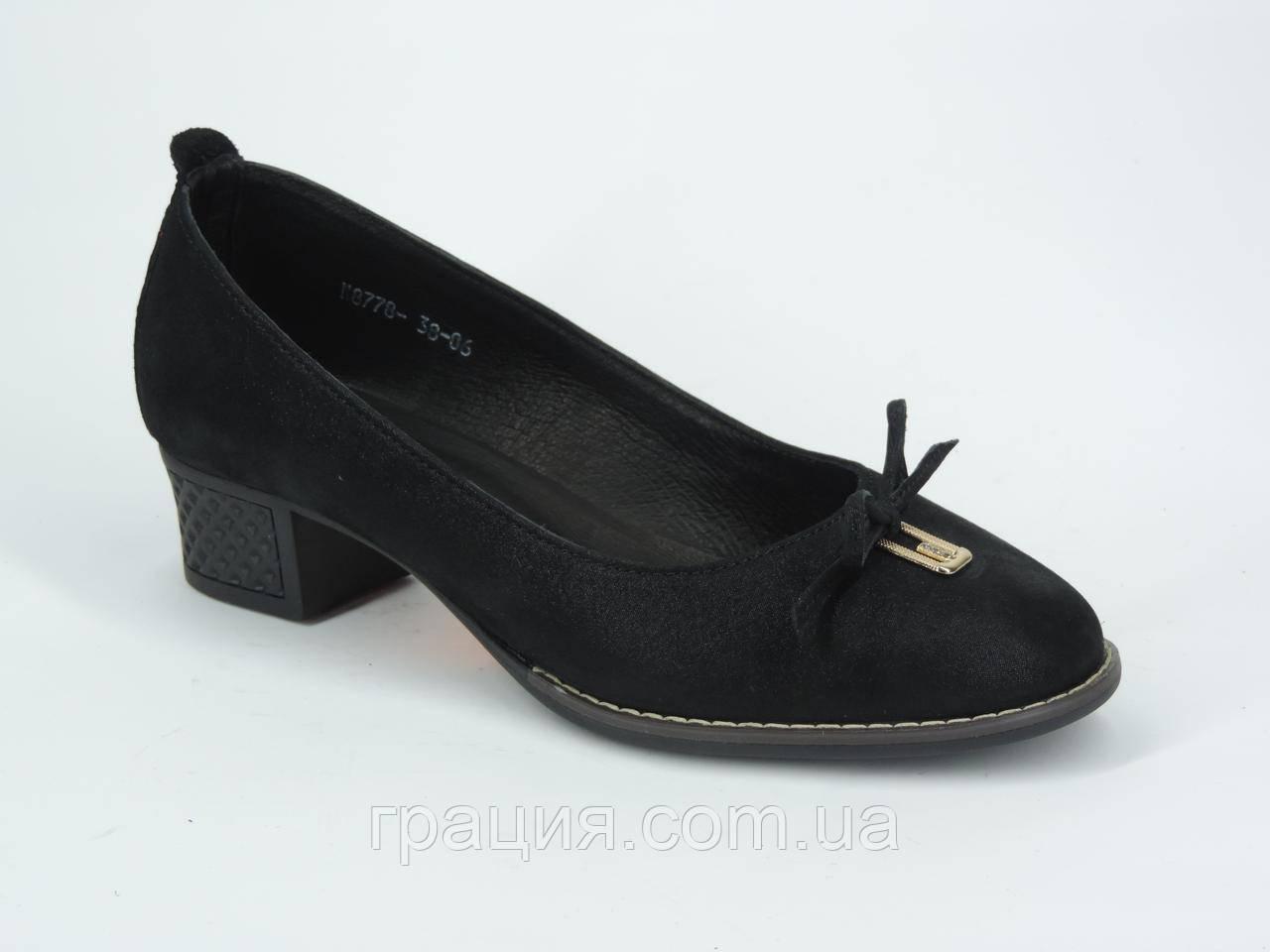 Женские туфли из натуральной кожи на не большем каблуке