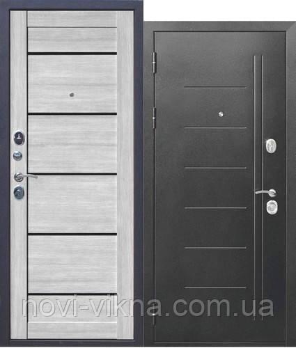 Входная дверь Троя 115 мм Серебро-Дымчатый дуб Царга, 960х2050 мм открывание правое.