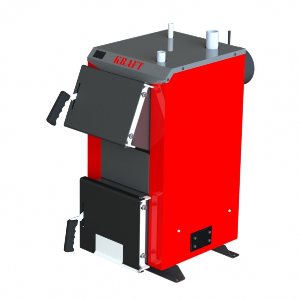 Бюджетный универсальный котел Kraft А 12 кВт из котловой стали работающий на любом твердом топливе