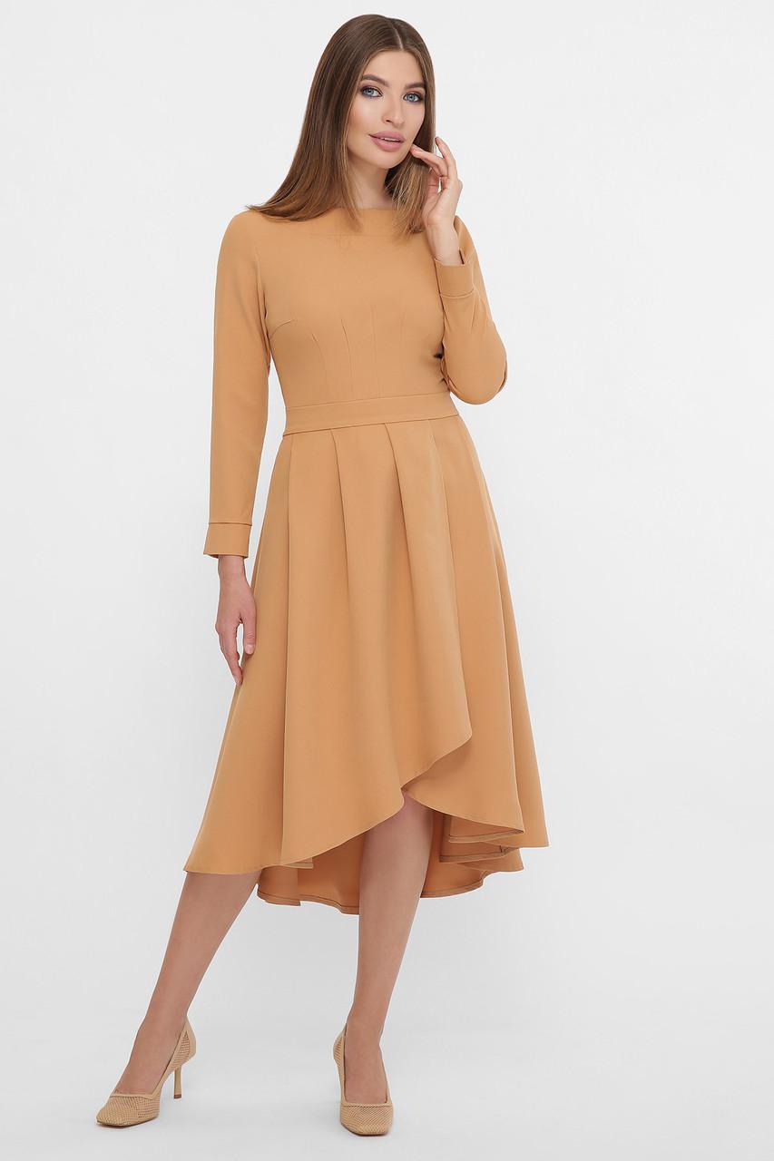 Платье с асимметричной юбкой песочное Лика