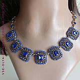 Комплект кольє і сережки під золото з синіми каменями, висота 8 см., фото 7