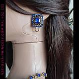 Комплект  колье и серьги под золото с синими камнями, высота 8 см., фото 10