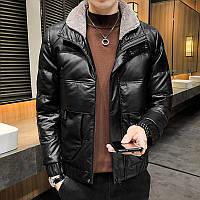 Кожаная хлопковая куртка мужская короткая с меховым воротником 2 цвета, фото 1