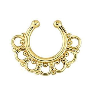 Серьга-обманка в нос желтое золото