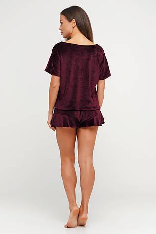 Бордовая пижама шортики и футболка TM Orli, фото 2