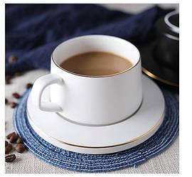 Керамічна чашка з блюдцем. Модель 370
