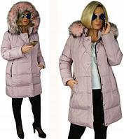 Зимняя длинная куртка, розовая, размер 42