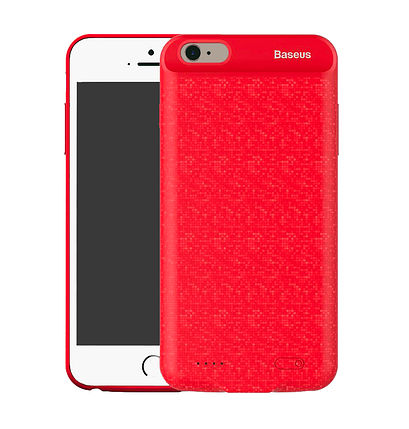 Чехол-аккумулятор Baseus Plaid Backpack Power Case (ACAPIPH7-LBJ09) для iPhone 7 / 8 Red (5000Mah), фото 2