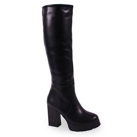 Сапоги зимние на удобном каблуке ( теплые, стильные, кожаные, элегантные, джельсомино )