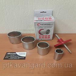 Набор корончатых сверл для плитки 5 ед c вольфрамовым напылением INTERTOOL SD-0429