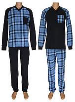 Пижама мужская трикотажная теплая 20034 Reglan Soft хлопок с начесом Темно-синяя с голубым
