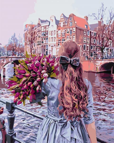 """Набор для росписи по номерам ArtStory """" Прогулка по Амстердаму"""" 40 * 50см."""