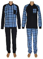 Костюм домашний мужской трикотажный теплый 20034 Reglan Soft хлопок с начесом Темно-синий с голубым