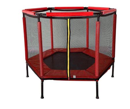 Батут Atleto 140 см шестикутний з сіткою червоний