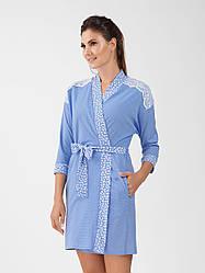 """Красивый, нежный халат небесно-голубого цвета с кружевом """"ellen""""."""