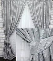 "Шторы лен рогожка , коллекция ""Диамант"" (2шт. 1,2х2,7) .  Цвет серый Код  546ш 39-146, фото 1"