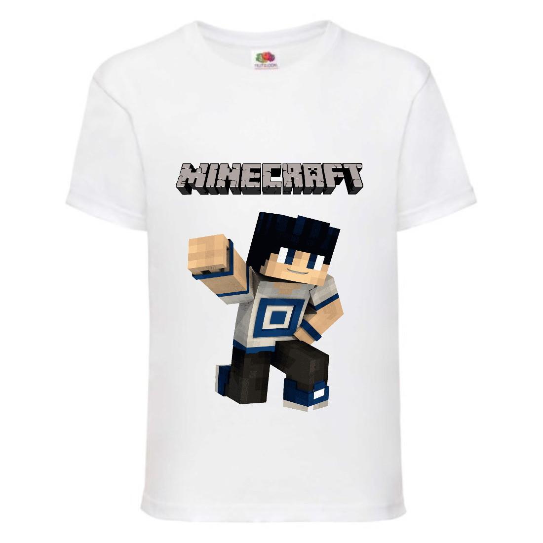 Футболка детская Майнкрафт Minecraft (MC-01) белая