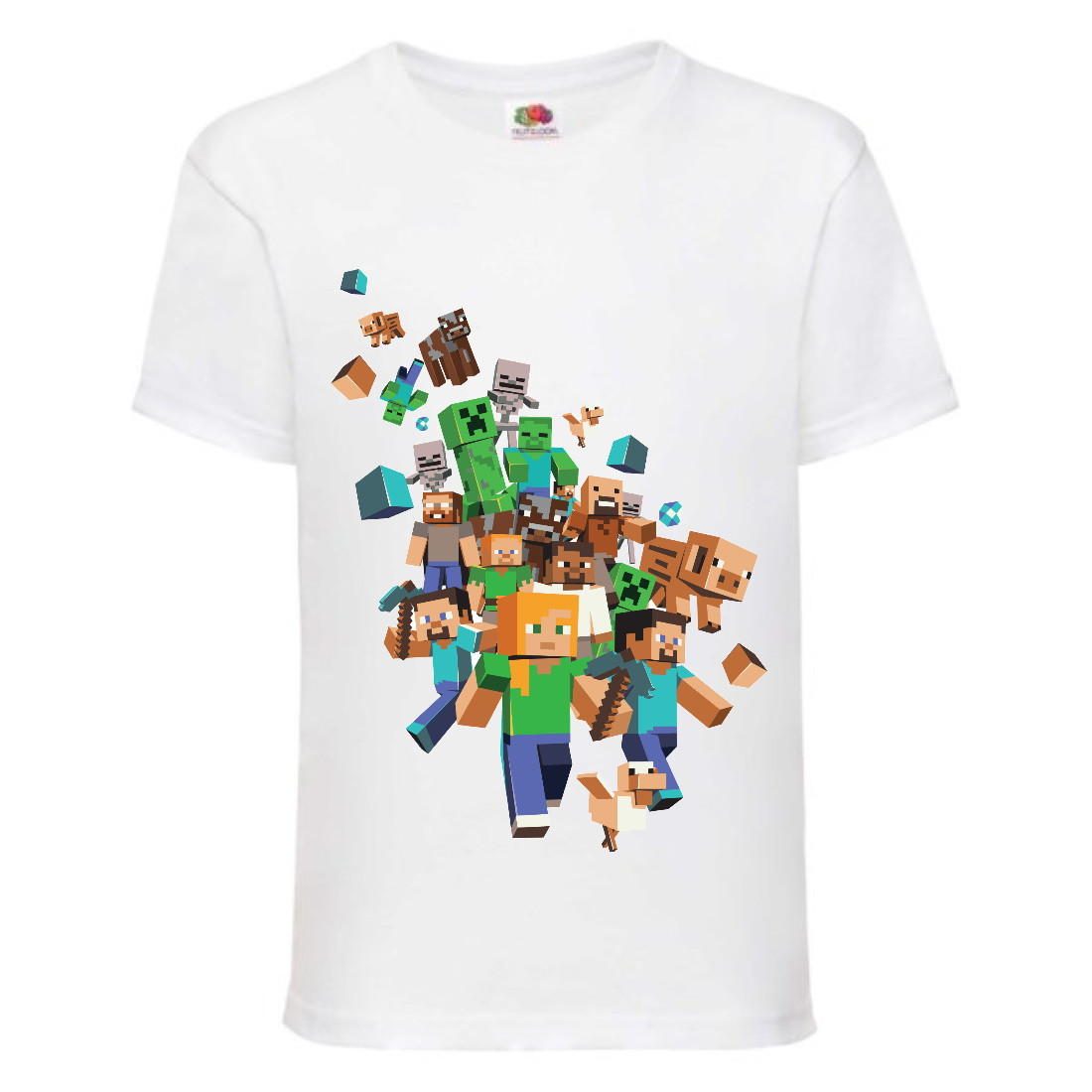 Футболка детская Майнкрафт Minecraft (MC-02) белая