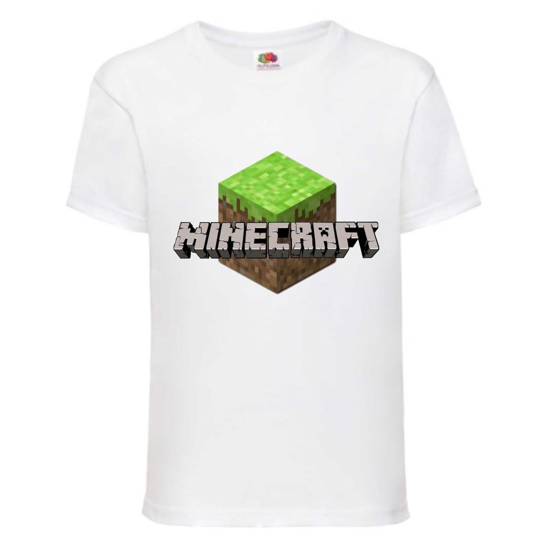 Футболка детская Майнкрафт Minecraft (MC-05) белая
