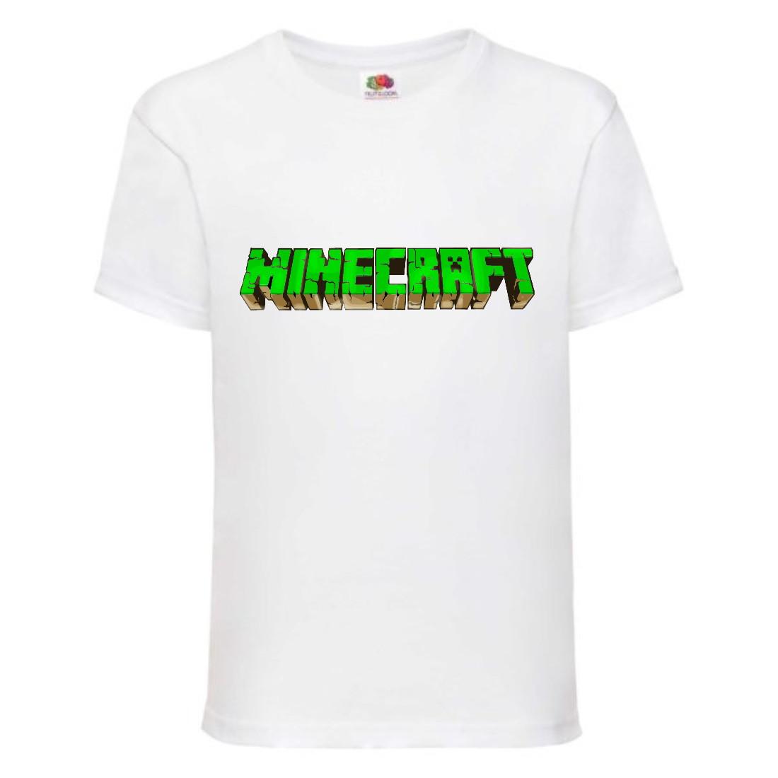 Футболка детская Майнкрафт Minecraft (MC-06) белая