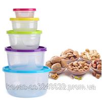 Салатники с крышкой, контейнеры для хранения еды, комплект из 5 ёмкостей., фото 3