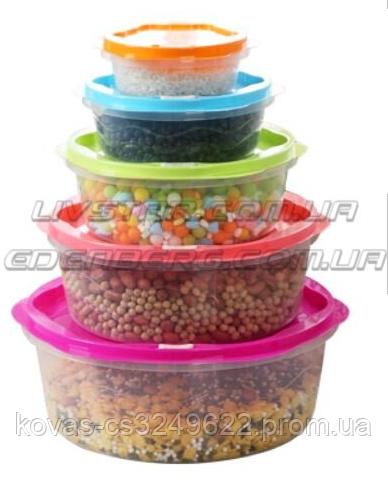 Салатники с крышкой, контейнеры для хранения еды, комплект из 5 ёмкостей.
