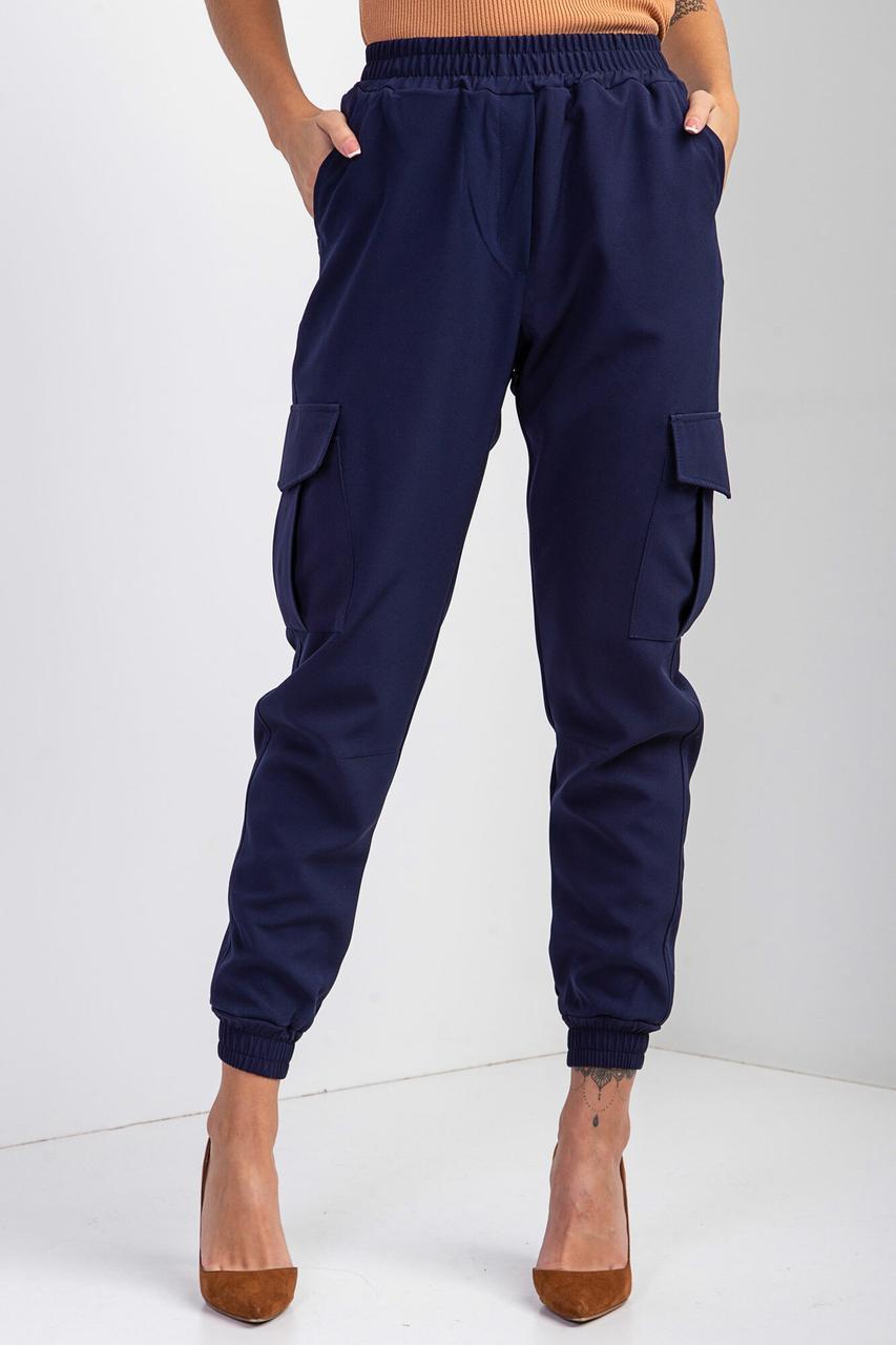 Женские Зауженные брюки джоггеры синего цвета с высокой посадкой, накладными карманами и манжетами