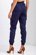 Женские Зауженные брюки джоггеры синего цвета с высокой посадкой, накладными карманами и манжетами, фото 3