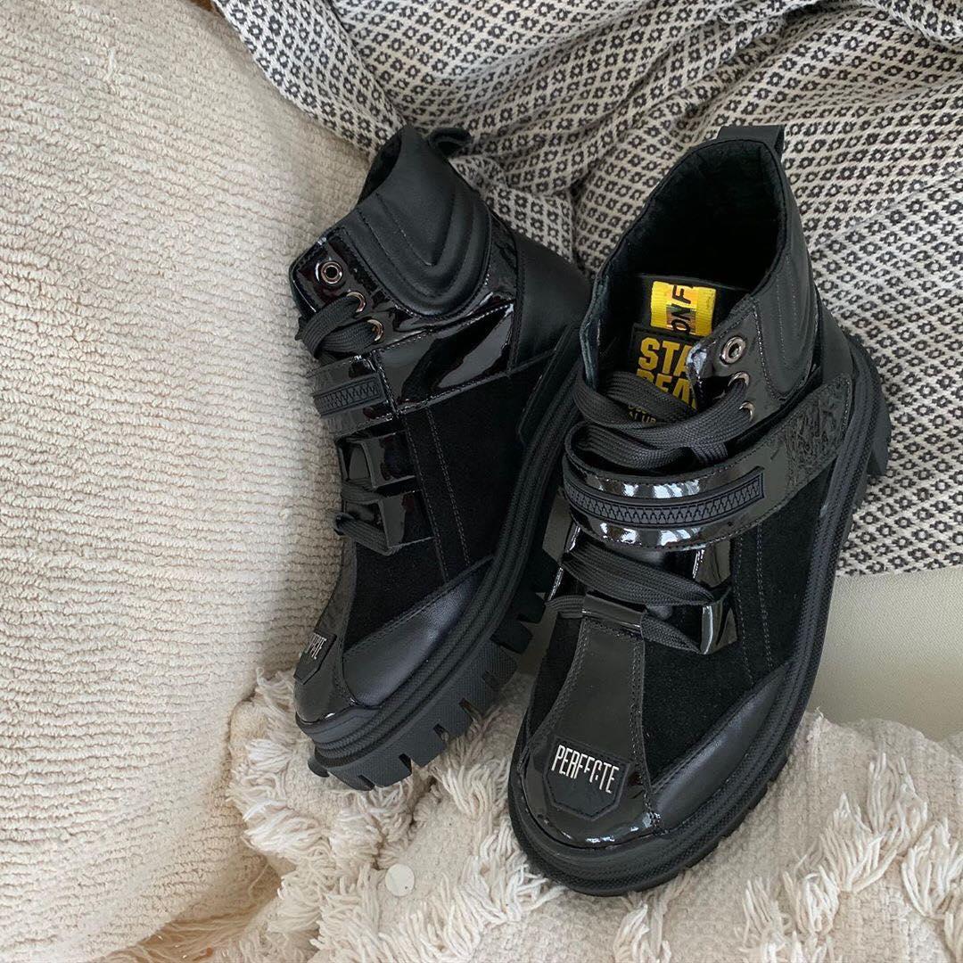 Стильні комбіновані черевики зі шкіри та замші на шнурівці з ремінцем 36-41 р
