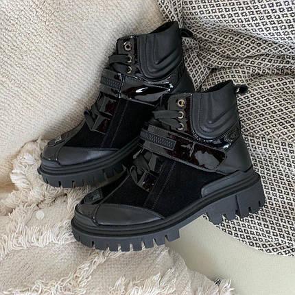 Стильні комбіновані черевики зі шкіри та замші на шнурівці з ремінцем 36-41 р, фото 2