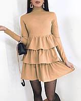 Женское весеннее платье креп дайвинг черный красный беж 42-44 44-46